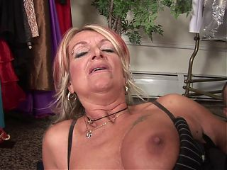 Mature Pulls Her Panties Over To Fuck A Customer