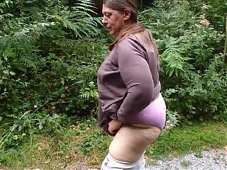 BBW Fat Ass Granny Pissing Outside