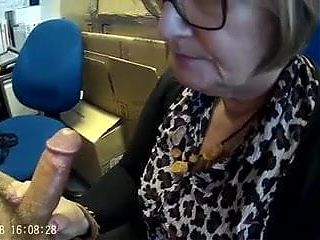 Mature wife sucking her boss off at work