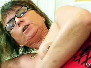 Horny Mature with Glasses Has Rough Fuck With Young ugly Neigbour